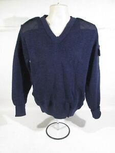 3f094b83b09 Ex Police Blue 100% Pure New Wool V-Neck Pullover   Jumper With ...