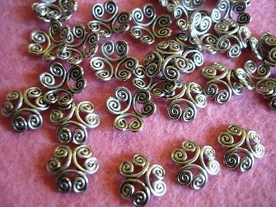 50 Silver Plated Bead Cap Swirl Design Beading/Findings/jewelry/making/tool JF2