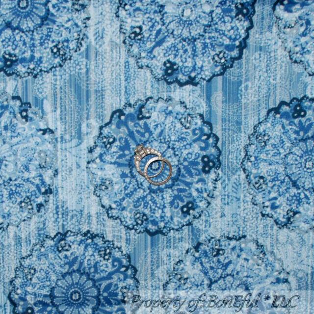 BonEful Fabric Cotton Quilt Blue White Flower Stripe Paisley Dot Snowflake SCRAP