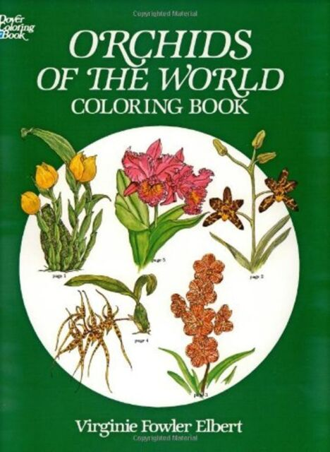 Dover Coloring Book ORCHIDS OF THE WORLD 45 B&W Illustrations to Color Detailed