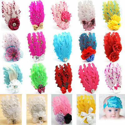 1pc Cute Boy Girl Baby Feather Flower Infant Headband Hair Band Bow Accessories