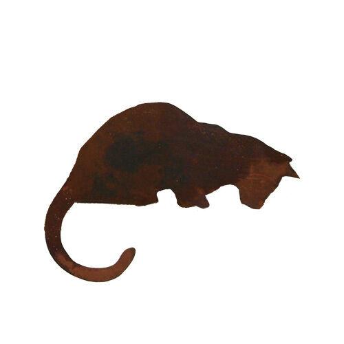 Katze sitzend seitlich Kantensitzer 30x37cm Kantenhocker Rost Edelrost Metall