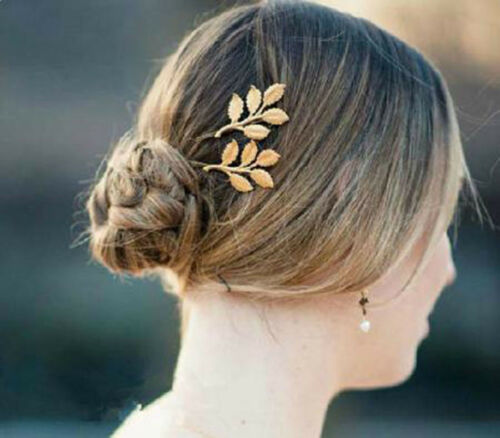 53b 2pcs Shiny Gold Leaf Leaves Bobby Pin Hair Pin Hair Accessory Set