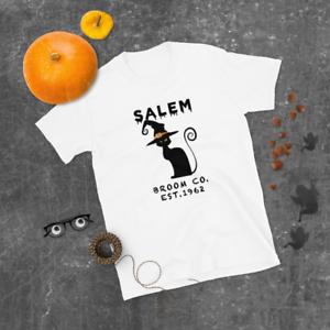 Women Halloween Black Cat Witch Funny Salem Broom Company Shirt Men