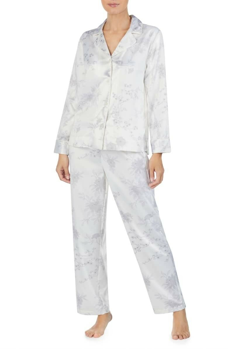 Ralph Lauren Women's White Grey Floral Satin Charmeuse Pajama Extra Large NWT