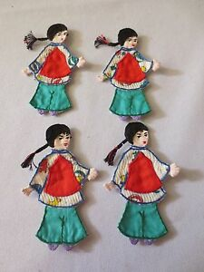 Set of 4 Vintage Asian Chinese Hand Made Sew On Appliques