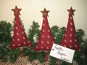 image is loading 3 primitive country christmas handmade fabric rustic red