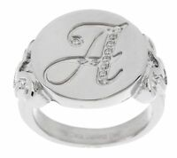 Qvc Steel By Design Stainless Steel Crystal Engraved Initial Letter Ring