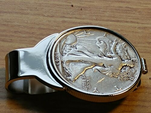 Rare 1943 Silver Walking Liberty Moneyclip Surgical Stainless Steel /& US Silver!