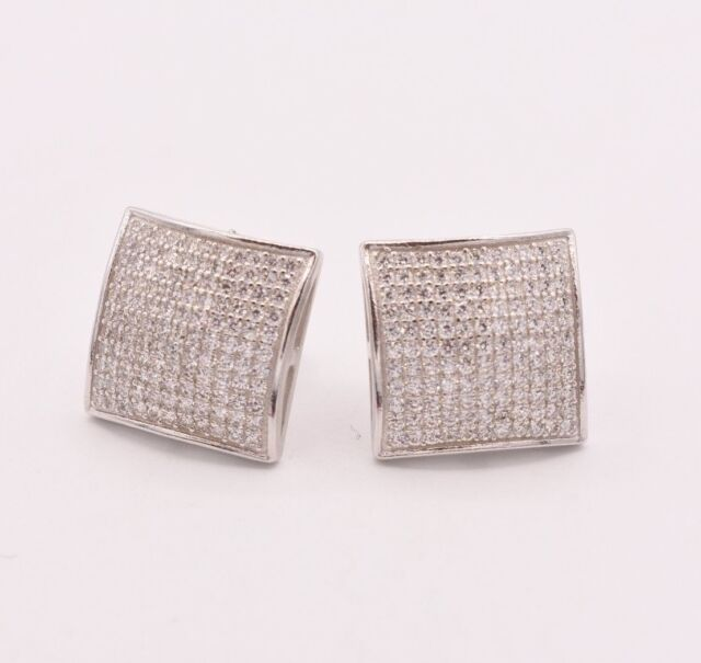 Cz Large Square Stud Earrings Sterling Silver 925 Back Uni 14mm Men S