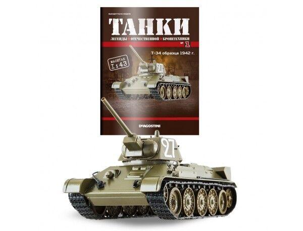 T-34 1942 RUSSIA MIDDLE BATTLE TANK Diecast Model scale 1 43 DEAGOSTINI TANKS