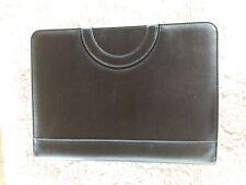 Darolin Zippered Padfolio Black Faux Leather