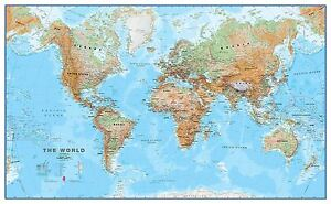 World wall map physical poster print art map size finish options image is loading world wall map physical poster print art map gumiabroncs Images