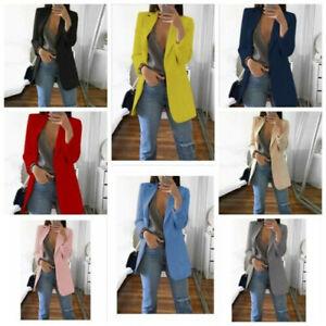 Women-Slim-Blazer-Jacket-Top-Outwear-Long-Sleeve-Career-Formal-Long-Coat