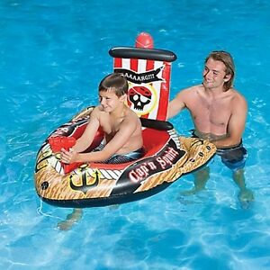 Inflatable Swimming Pool Toy Pirate Ship Float With Action Squirter