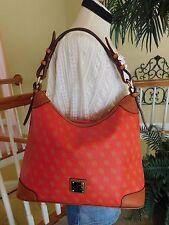 Dooney & Bourke Gretta Red/Brown Signature PVC Hobo Shoulder Handbag