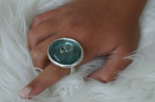 Lock Charm Statemnt Ring 6 7 7.5 8 NEW UNO de 50 Retired Silver Murano Glass W