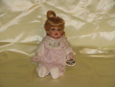 "Doll 11"" Collectable memories Laci seated baby prcelain all original blonde blue"