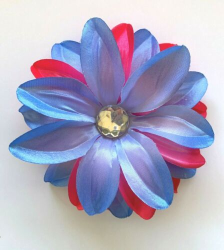 """5/"""" Light Blue /& Bright Hot Pink Tropical Lily Fabric Silk Flower Hair Clip"""