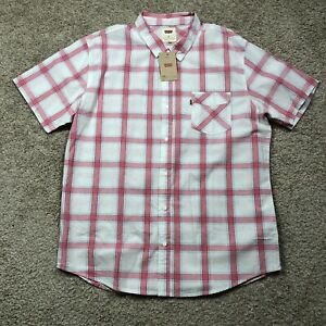NWT-Levi-039-s-White-Pink-Plaid-Short-Sleeve-Button-Down-Men-039-s-Shirt-size-XL