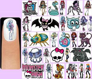 60x Monster High Nail Art Decals Free Gems Frankie Stein