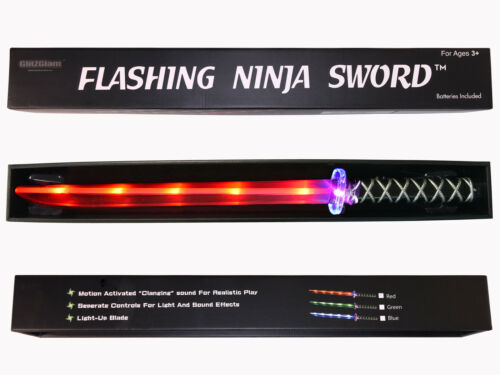 Ninja Sword Toy Light-Up Deluxe with Gift Ready Packaging LED Red