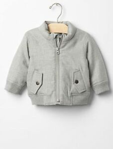 85d0047dc GAP Baby Boys NWT Size 6-12 Months Light Gray Flannel Bomber Jacket ...