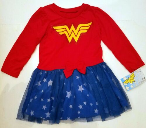 WONDER WOMAN DC COMICS Girls Kids ONE PIECE SKATER DRESS BLOUSE SKIRT Size 4 5 6