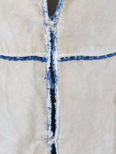 Giacca pelle Kharma in patchwork Decostruite Jeans L Donna Noir Blanc 0Oxvnf