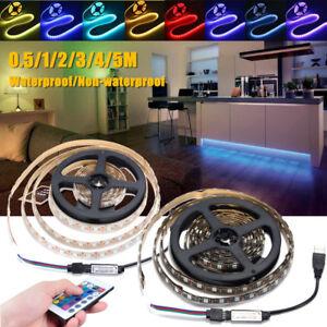 5V-5050-RGB-USB-LED-Strip-Light-Waterproof-TV-Back-luces-tira-kit-Remote