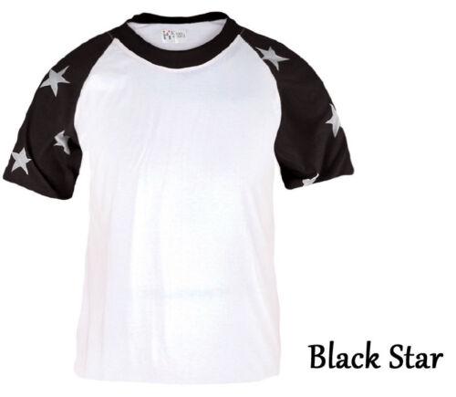 Mens Womens Raglan Baseball Tee Jersey Short Sleeve Star Casual Shirts T-Shirt