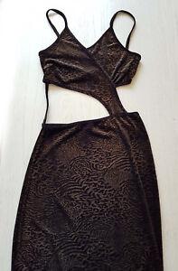 detailing 7c667 64675 Details zu luxus SAMT KLEID Abendkleid FRANKREICH gerade LANG 36/38  bauchfrei SCHWARZ/gold