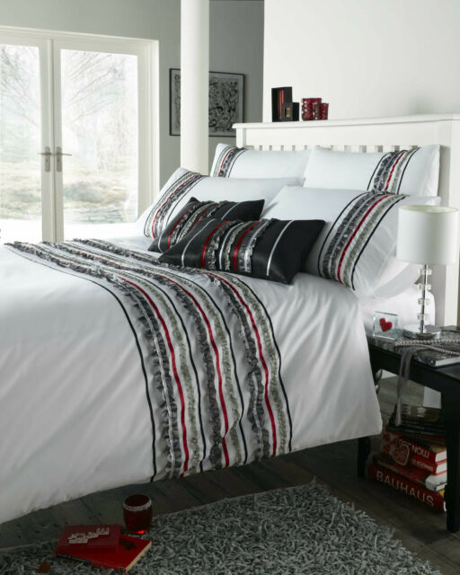 Super King Duvet Cover Set Carnival Charcoal White Grey Red Ruffle