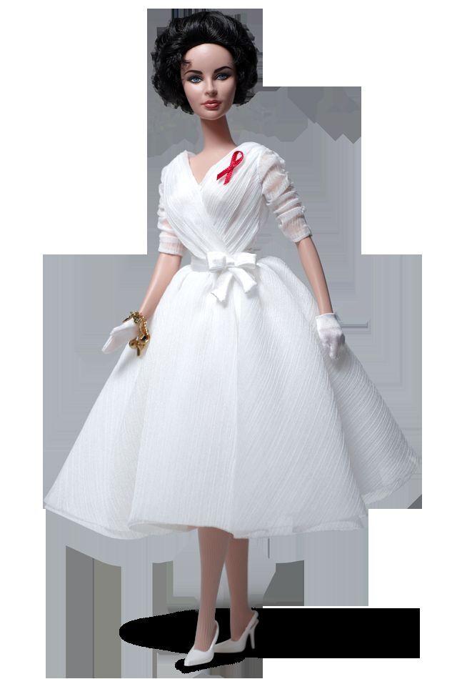 La actriz Elizabeth Taylor blanco Diamonds muñeca Barbie Silkstone Giftset