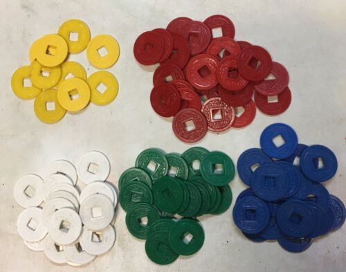 100 VINTAGE MAH JONGG Square HOLE COINS CHIPS