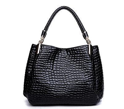 Womens Ladies Leather Handbag Briefcase Fashion Bag Crocodile Print Purse Black