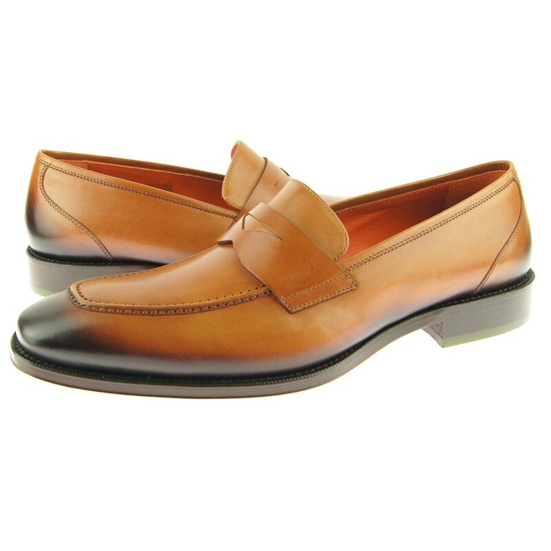 Lorens  Alvaro  Penny Loafer, Men's Dress Slip-on Leather shoes, Tan