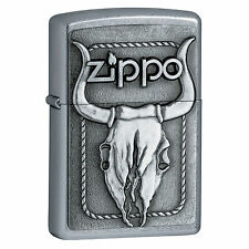 Zippo Windproof Sreet Chrome Lighter With Bull Skull Emblem, 20286 New In Box