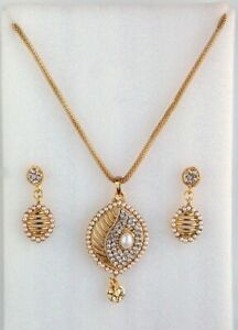 Indian Bollywood Gold Chain Pendant Necklace Earrings Pearls Women Jewelry Set Ebay