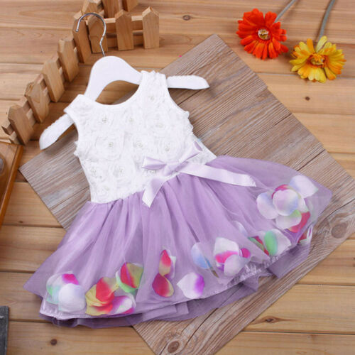 Toddler Infant Girls Bowknot Tutu Petals Tulle Dress Baby Flower Gown Outfits