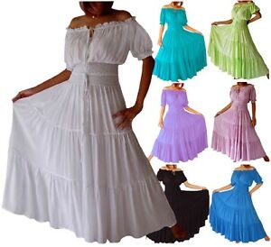 Womens-Peasant-Maxi-Dress-Smocked-Bodice-Elastic-LotusTraders-A7630-Plus-Sizes