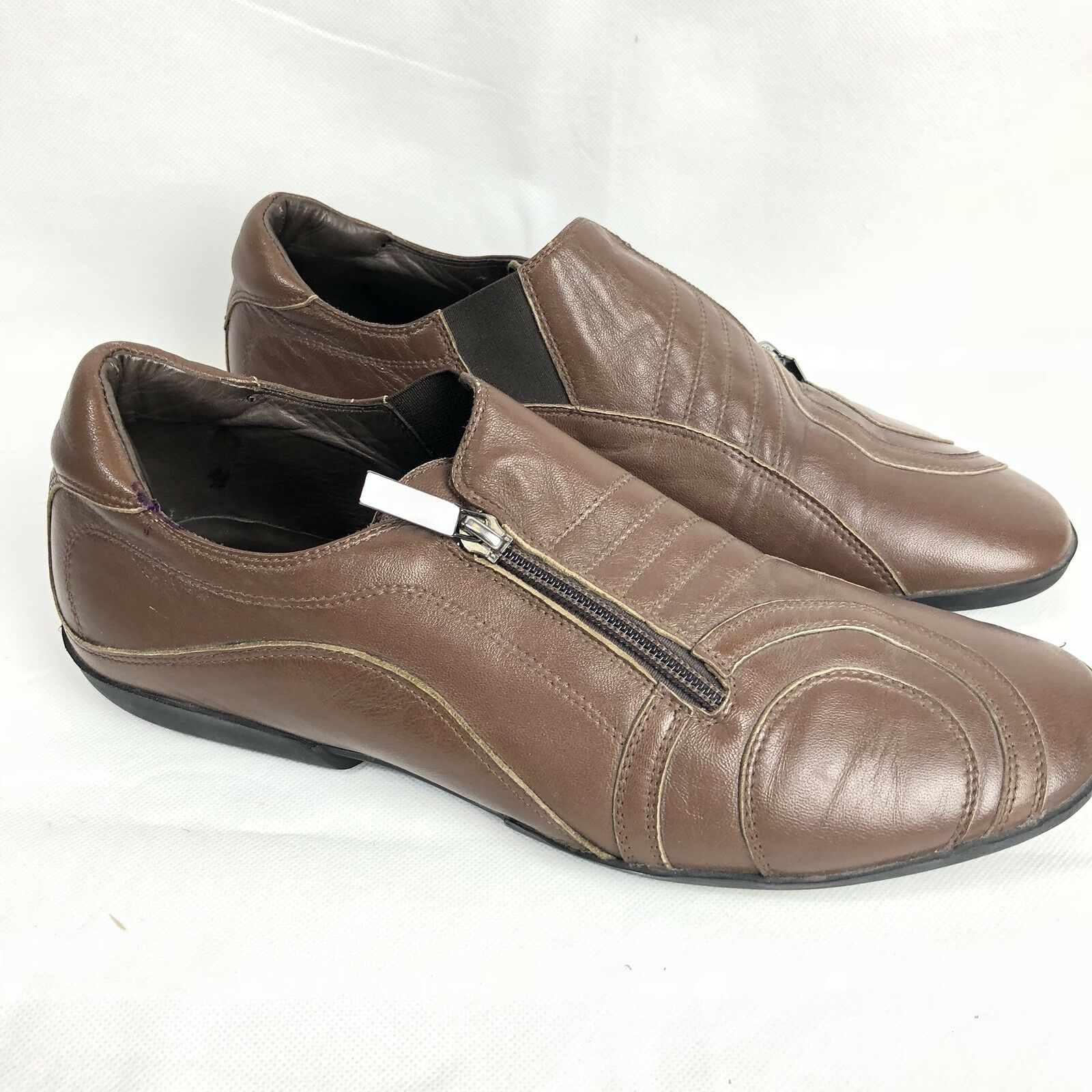 Roberto Botticelli Mens Brown Leather Zip Loafers   Size 41