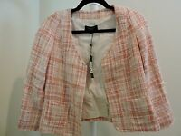 Talbots $189 Cotton Bend Orange & White Open 2 Pocket Lined Jacket - Size -2
