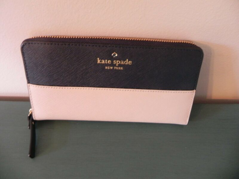 The Best Kate Spade ~ Cameron Large Wallet Leather ~ Navy / Cream Jade White