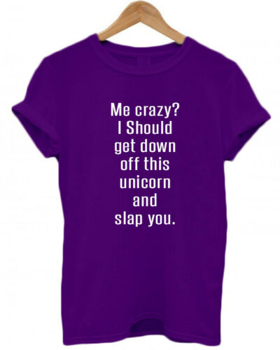 funny T-Shirt ME CRAZY Top I SHOULD GET DOWN OFF THIS UNICORN AND SLAP YOU