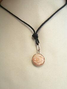 Ciondolo-in-ARGENTO-925-e-FIORE-in-CORALLO-naturale-rosa-pendente