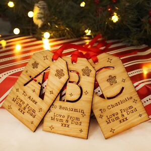 Personalised-Initial-Christmas-Wooden-Message-Gift-Tag-Traditional-Xmas-Keepsake