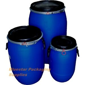 Image is loading Open-Top-Plastic-Storage-Drum-Barrel-Keg-With-  sc 1 st  eBay & Open Top Plastic Storage Drum Barrel Keg With Lid 30 60 120 Litre ...