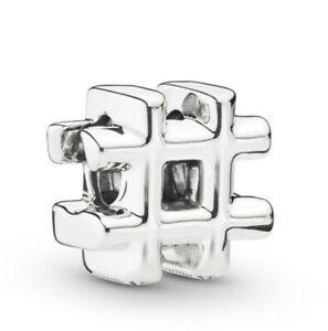 925-Sterling-Silver-Hashtag-Symbol-Charms-Fit-European-Charm-Bracelet