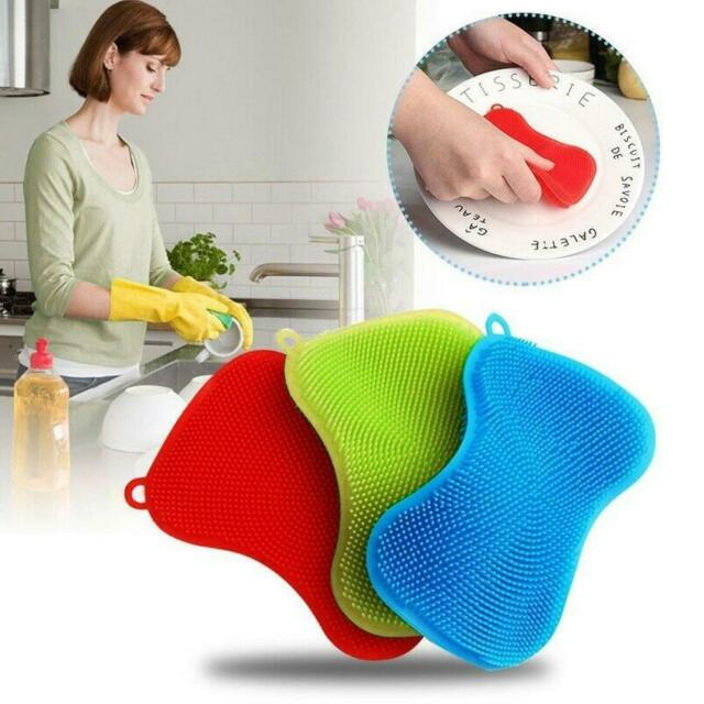 Kitchen Silicone Scrubber Sponge Brush Dish Pot Pan Washing Cleaning Tools